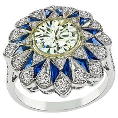 GIA Certified 1.48 Carat Diamond Sapphire Ring