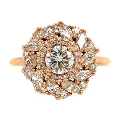 GIA Certified 1.48 Carat Round and Marquise Diamond Ring