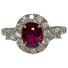 GIA Certified 1.48 Carat Ruby and Diamond Ring
