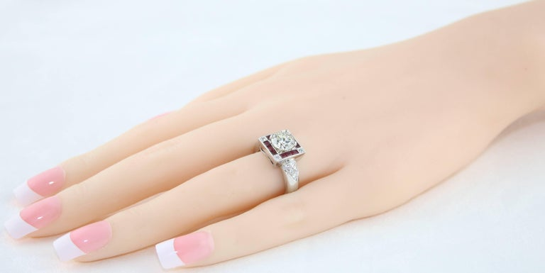 Revival GIA Certified 1.48 Carat Diamond Ruby Platinum Ring For Sale