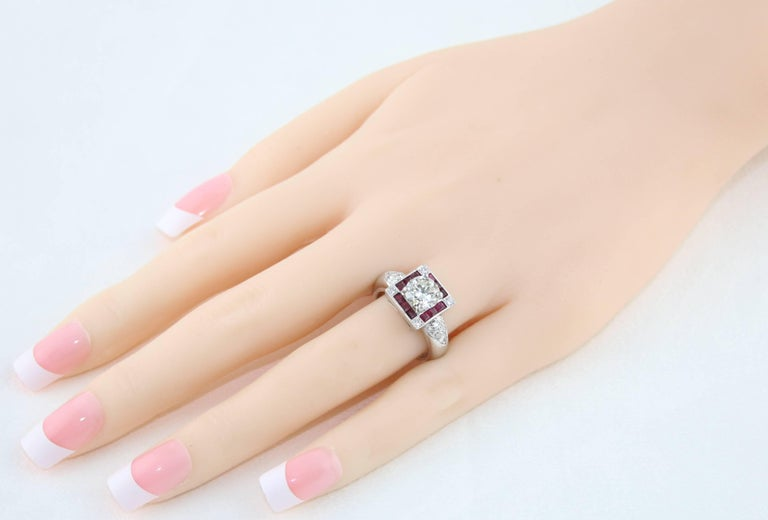Round Cut GIA Certified 1.48 Carat Diamond Ruby Platinum Ring For Sale