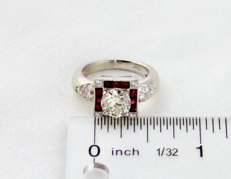 GIA Certified 1.48 Carat Diamond Ruby Platinum Ring In New Condition For Sale In New York, NY