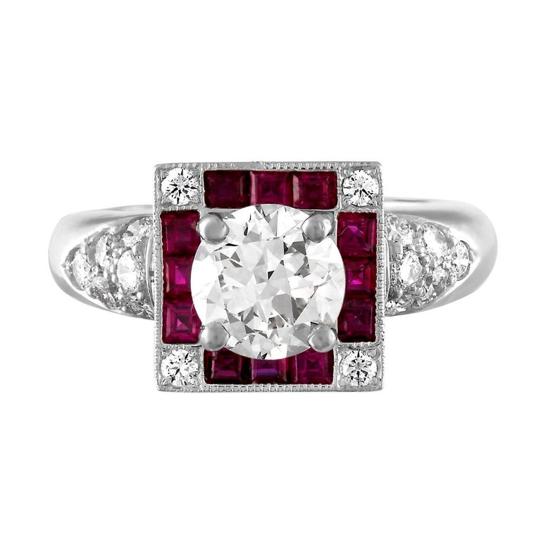 GIA Certified 1.48 Carat L VS1 Diamond Ruby Platinum Ring