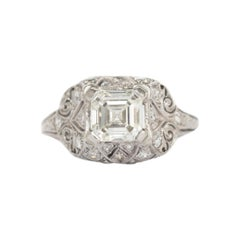 GIA Certified 1.49 Carat Diamond Platinum Engagement Ring