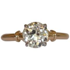 GIA Certified 1.49 Carat Diamond Yellow Gold and Palladium Engagement Ring