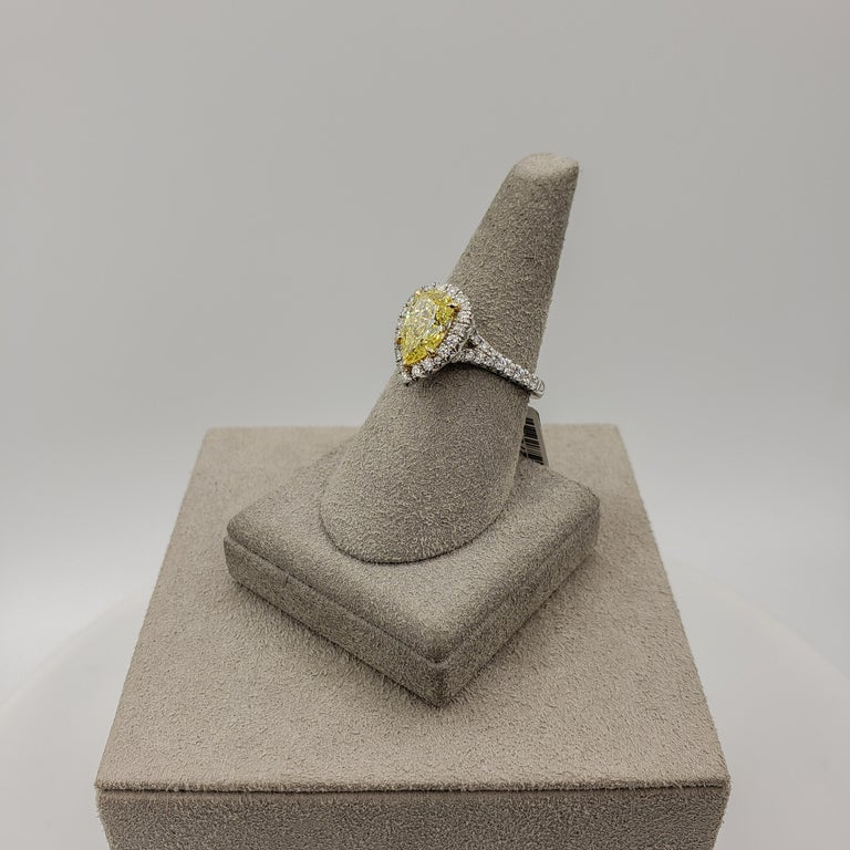 GIA Certified 1.49 Carat Intense Yellow Diamond Halo Engagement Ring For Sale 1