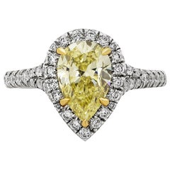 GIA Certified 1.49 Carat Intense Yellow Diamond Halo Engagement Ring