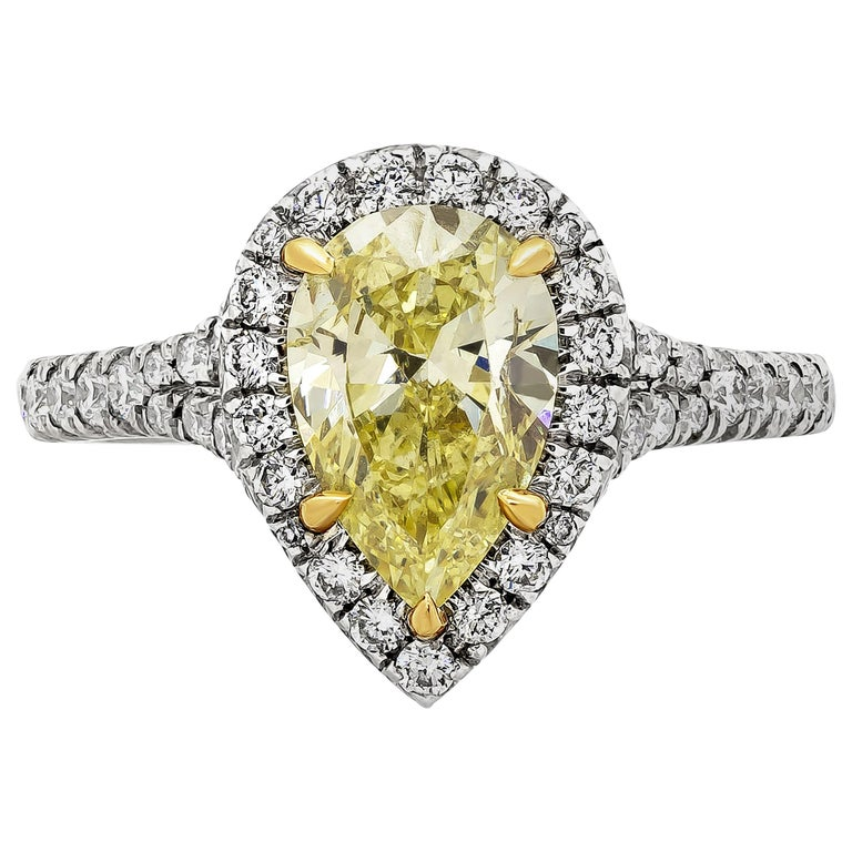 GIA Certified 1.49 Carat Intense Yellow Diamond Halo Engagement Ring For Sale