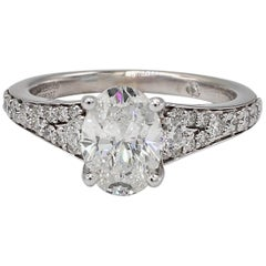 GIA Certified 1.49 Carat Oval 14 Karat White Gold Pave Diamond Engagement Ring