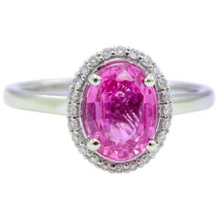 GIA Certified 1.49 Carat Oval Pink Sapphire and Diamond Cocktail Ring