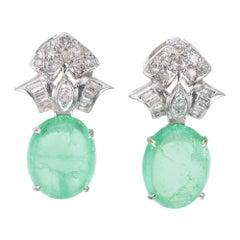 GIA Certified 14.93 Carat Emerald Diamond White Gold Dangle Earrings