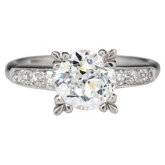 GIA Certified 1.50 Carat J VS2 Old Transitional Cut Diamond Engagement Ring