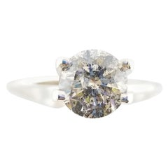 GIA Certified 1.50 Carat Natural Fancy Gray Round Diamond Ring 14 Karat Gold