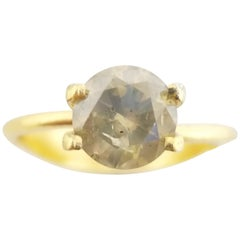 GIA Certified 1.50 Carat Natural Fancy Yellow Round Diamond Ring 14 Karat Gold