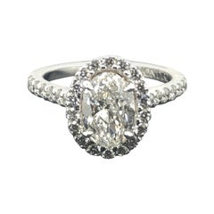 GIA Certified 1.50 Carat Oval Cut White Diamond Solitaire Engagement Ring