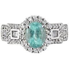 GIA Certified 1.50 Carat Paraiba Tourmaline Diamond White Gold Engagement Ring