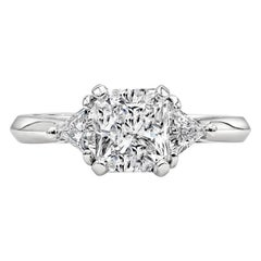GIA Certified 1.50 Carat Radiant Cut Diamond Three-Stone Engagement Ring