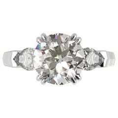 GIA Certified 1.50 Carat Round Cut Diamond Gold Ring