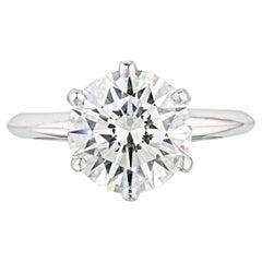 GIA Certified 1.50 Carat Round Cut Diamond Platinum Ring Hearts & Arrows