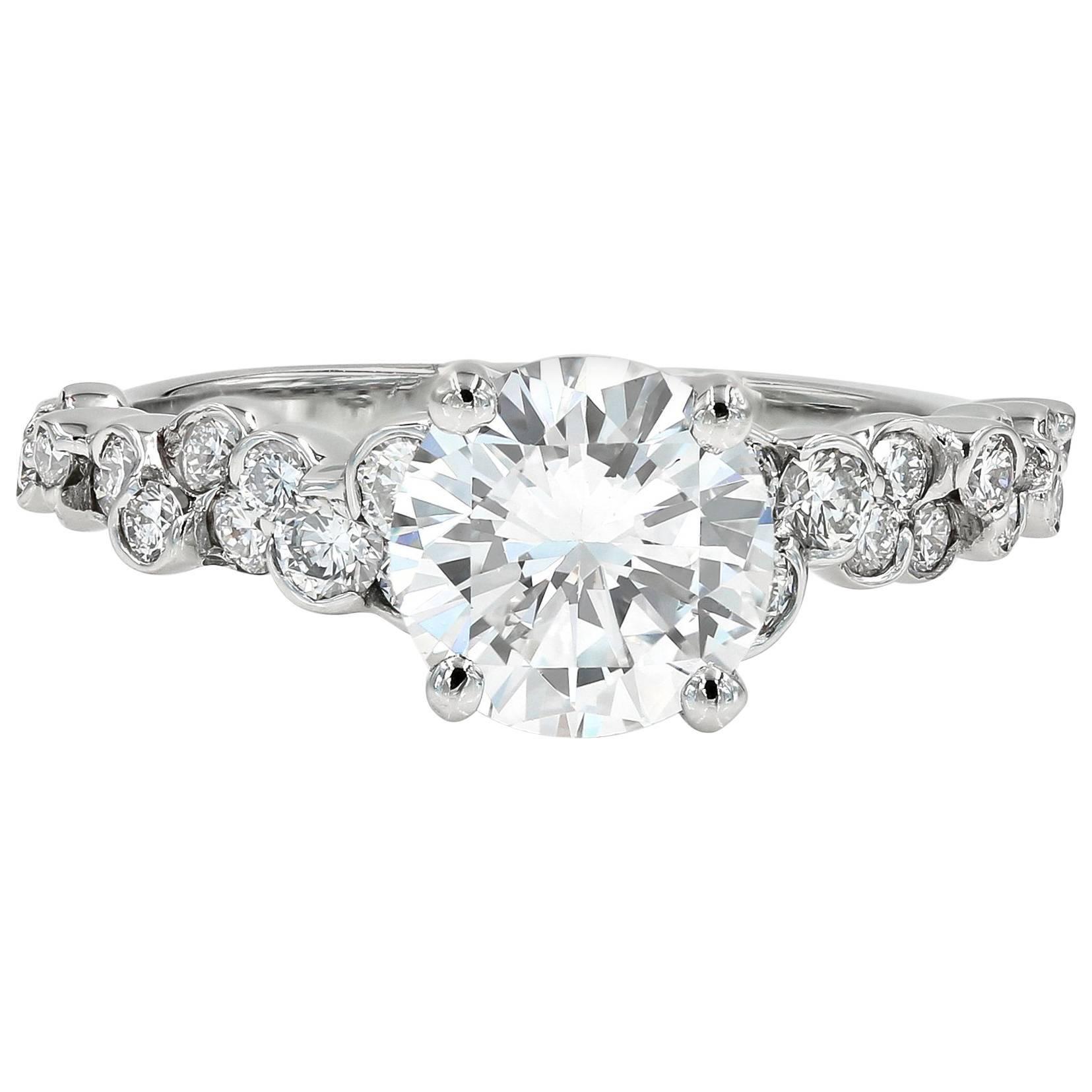 GIA Certified 1.50 Carat Round Diamond Cumullus Engagement Ring
