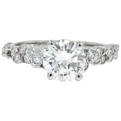 GIA Certified 1.50 Carat Round Diamond Cumullus Engagement Ring