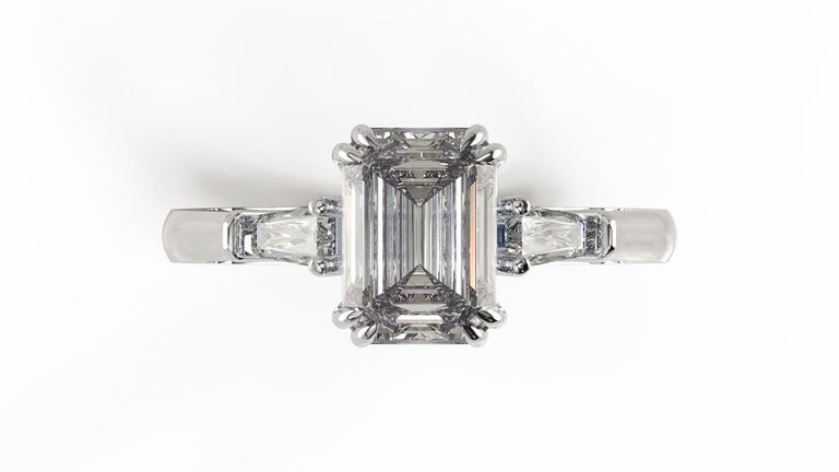 Modern GIA Certified 1.81 Carat Emerald Cut Diamond Ring For Sale