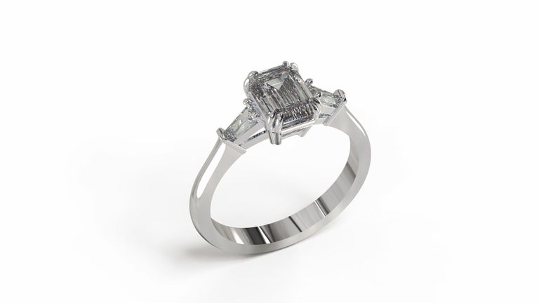GIA Certified 1.81 Carat Emerald Cut Diamond Ring For Sale 2