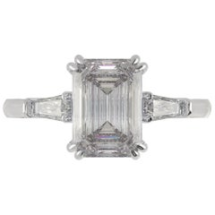GIA Certified 1.81 Carat Emerald Cut Diamond Ring