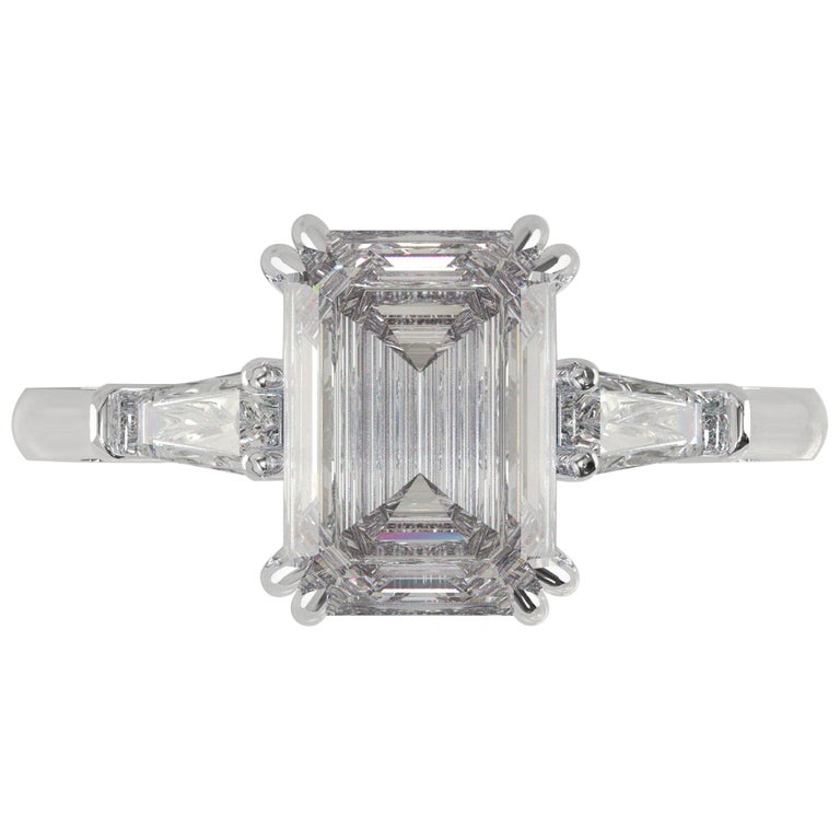 GIA Certified 1.81 Carat Emerald Cut Diamond Ring For Sale