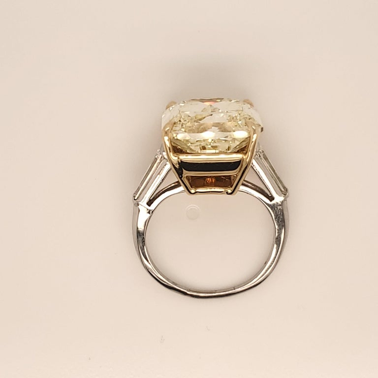 Radiant Cut GIA Certified 15.06 Carat Fancy Yellow Three-Stone Ring For Sale
