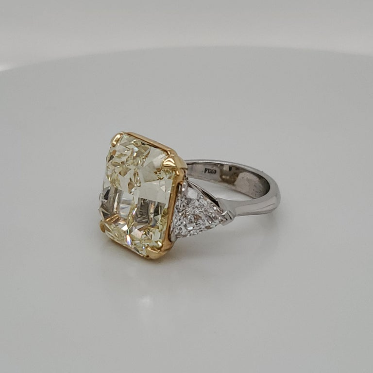 Radiant Cut GIA Certified 15.07 Fancy Yellow VS1 Center Diamond Stone 3-Stone Ring For Sale