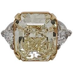 GIA Certified 15.07 Fancy Yellow VS1 Center Diamond Stone 3-Stone Ring