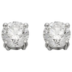 GIA Certified 1.50 ct Each G VS1 Single Stone Solitaire Round Diamond Earrings