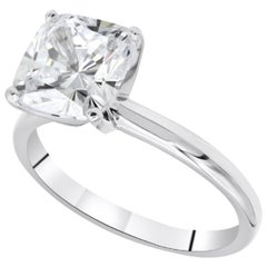 GIA Certified 1.51 Carat Cushion Diamond Ring VS2 Clarity H Color