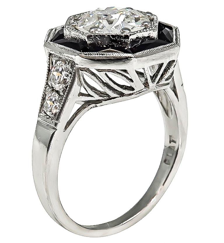 GIA Certified 1.51 Carat Diamond Onyx Engagement Ring 2