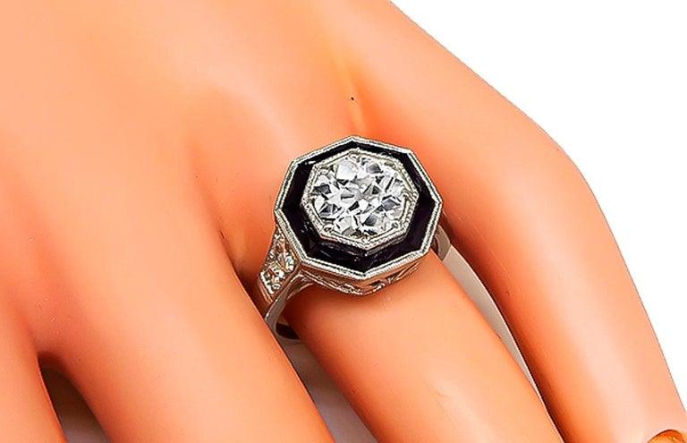 GIA Certified 1.51 Carat Diamond Onyx Engagement Ring 3