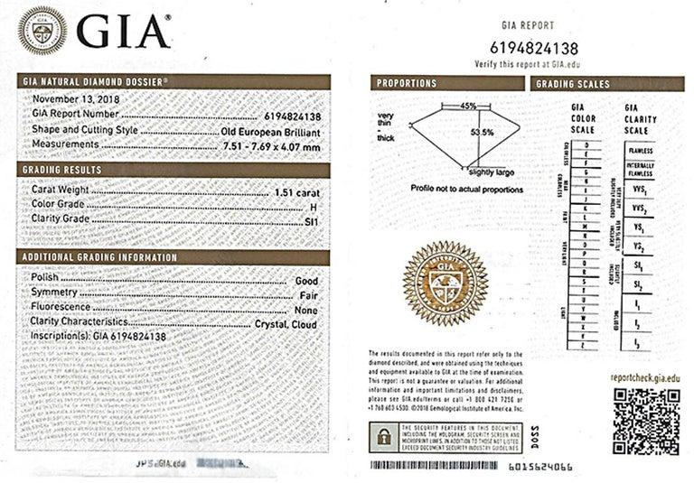 GIA Certified 1.51 Carat Diamond Onyx Engagement Ring 4