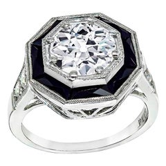 GIA Certified 1.51 Carat Diamond Onyx Engagement Ring
