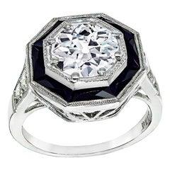 GIA Certified 1.51 Carat Diamond Onyx Engagement Ring