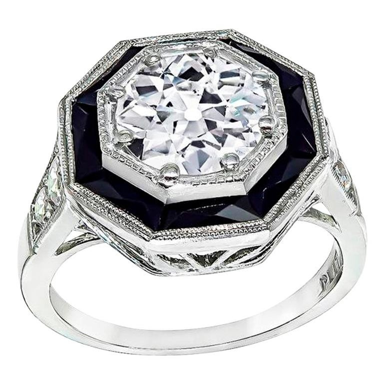 GIA Certified 1.51 Carat Diamond Onyx Engagement Ring 1