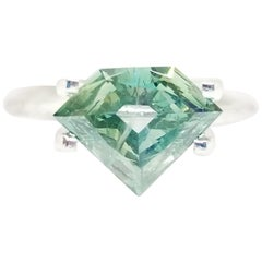 GIA Certified 1.51 Carat Natural Fancy Bluish Green Shield Diamond Ring 14K Gold