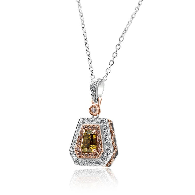 Contemporary GIA Certified 1.51 Carat Orangy Yellow Shield Double Halo Two Tone Gold Necklace For Sale