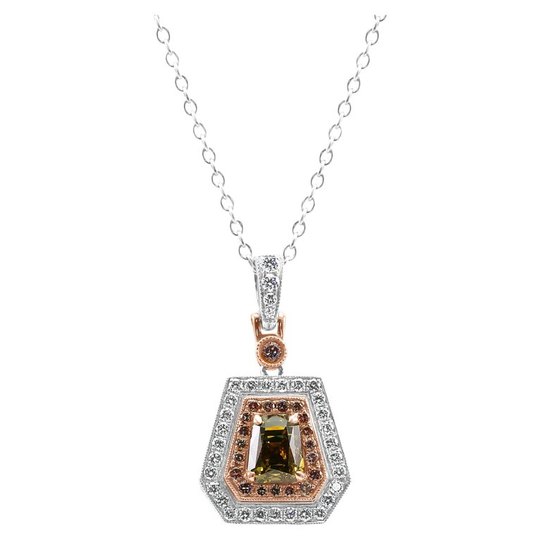 GIA Certified 1.51 Carat Orangy Yellow Shield Double Halo Two Tone Gold Necklace For Sale
