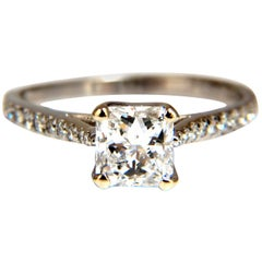 GIA Certified 1.51 Carat Princess Cut Diamond Ring Cathedral Prime D/VS