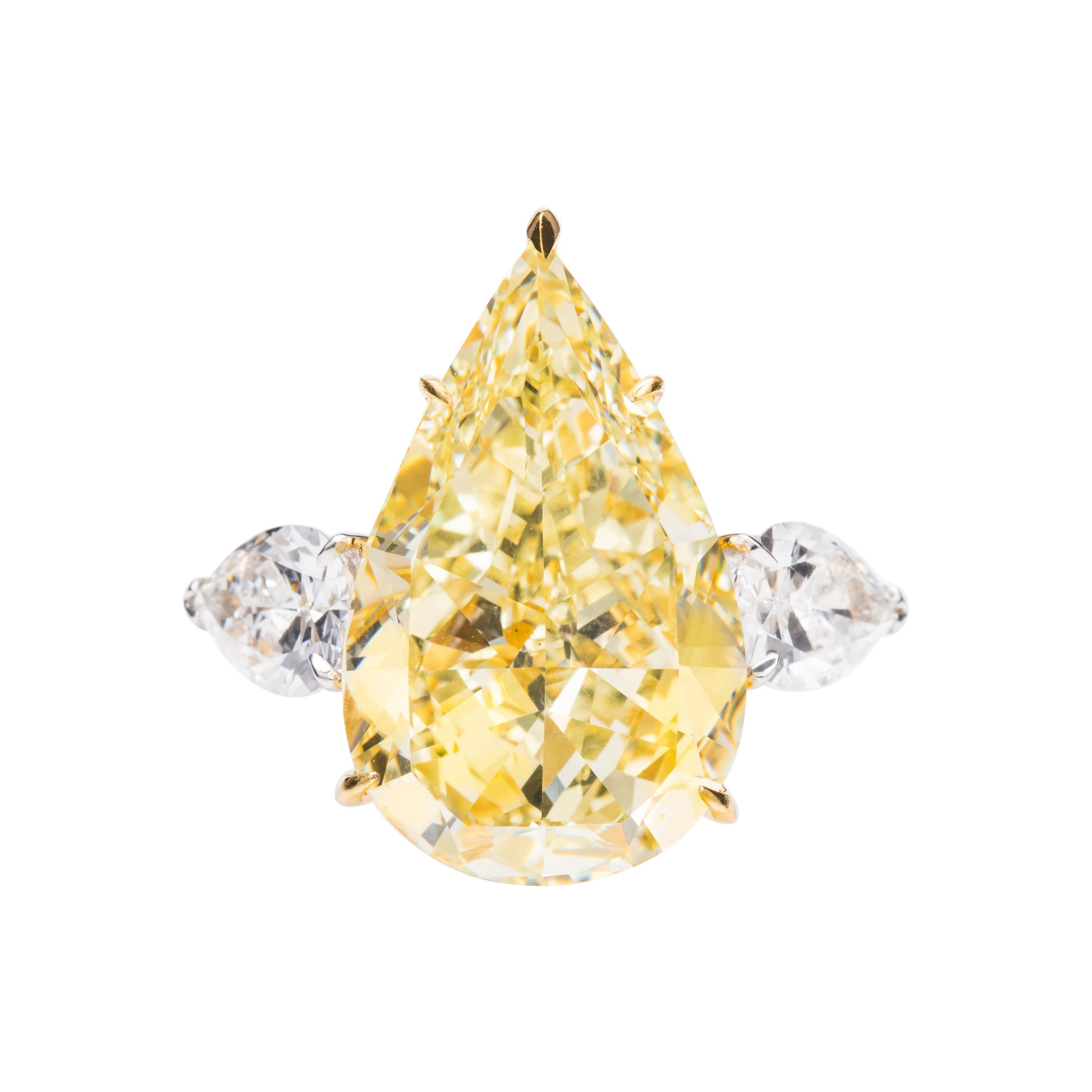 GIA Certified 15.1 Carat Yellow and White Pear Shape Diamond Ring in 18k Gold