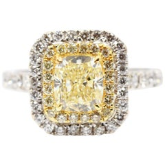 GIA Certified 1.51 Carat Yellow Cushion Cut Center Double Halo White Gold Ring