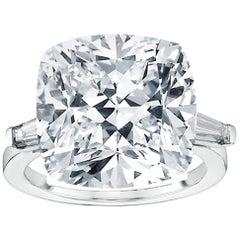 GIA Certified 15.10 Carat Cushion Cut Diamond Ring