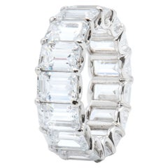 GIA Certified 15.10 Carat Emerald Cut Diamond Eternity Band Wedding Ring