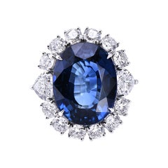 Laviere GIA Certified 15.12 Carat Blue Sapphire and Diamond Cocktail Ring