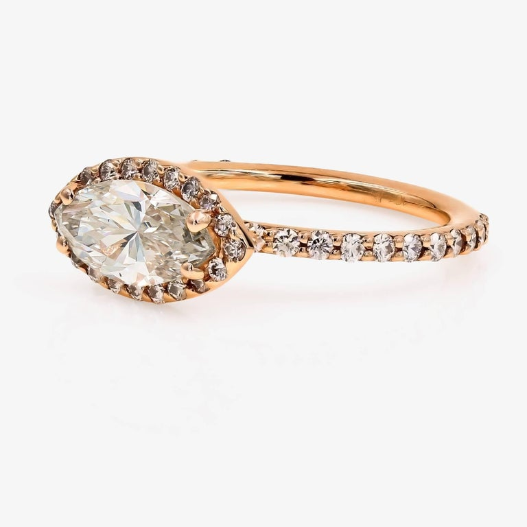 Contemporary GIA Certified 1.51cts. Marquise & Ideal Cut Round Diamond Ring in 18kt Rose Gold For Sale